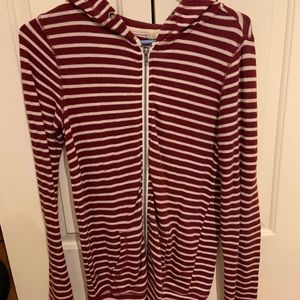 TILLYS maroon and white striped zip up hoodie